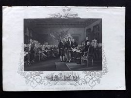 Gaspey C1860 Antique Print. American Declaration of Independence, July 4th 1776